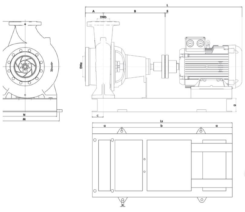 Kích thước máy bơm đa tầng Sempa TKF 150-315EF