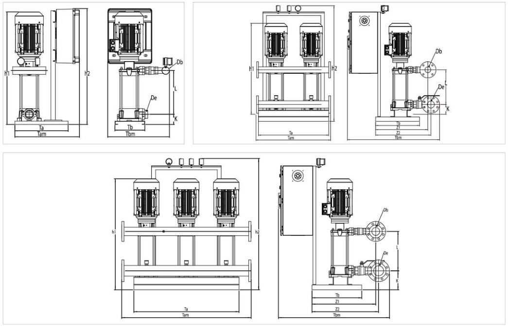 Bản vẽ máy bơm nước bù áp Sempa SPL - D 50 - 03 x 3