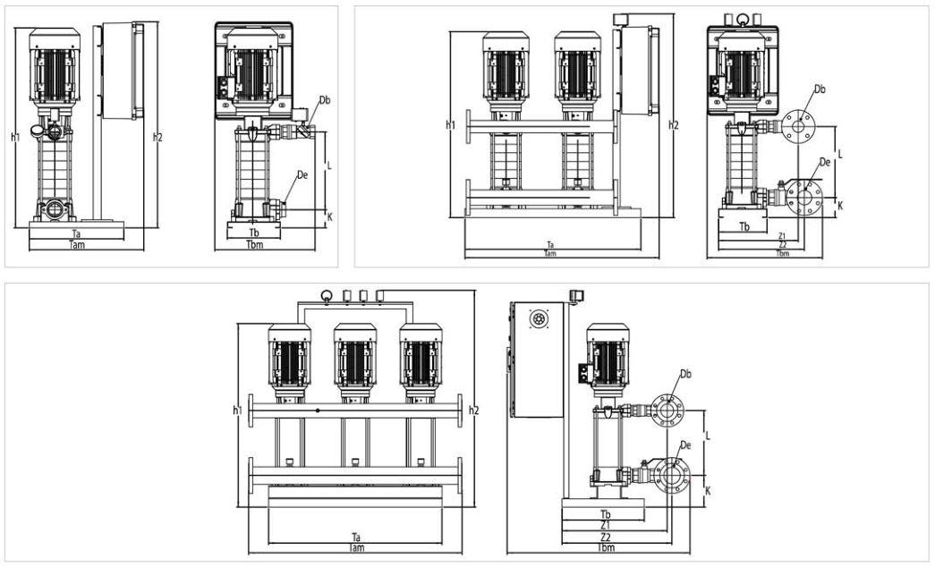 Bản vẽ máy bơm tăng áp Sempa SPL-C 50 - 04 x 1