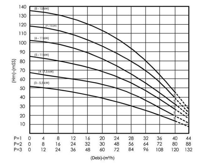 Hiệu suất của máy bơm ly tâm trục đứng Sempa SPL - C 50 - 03 x 2