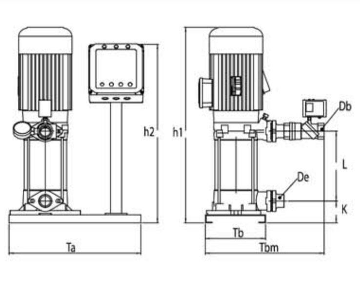 Kích thước kỹ thuật các dòng máy bơm bù áp Sempa SPS 90 - 04 x 1