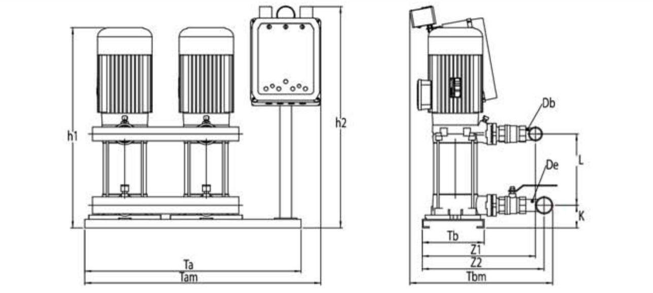 Kích thước kỹ thuật các dòng máy bơm bù áp Sempa SPS 90 - 04 x 2