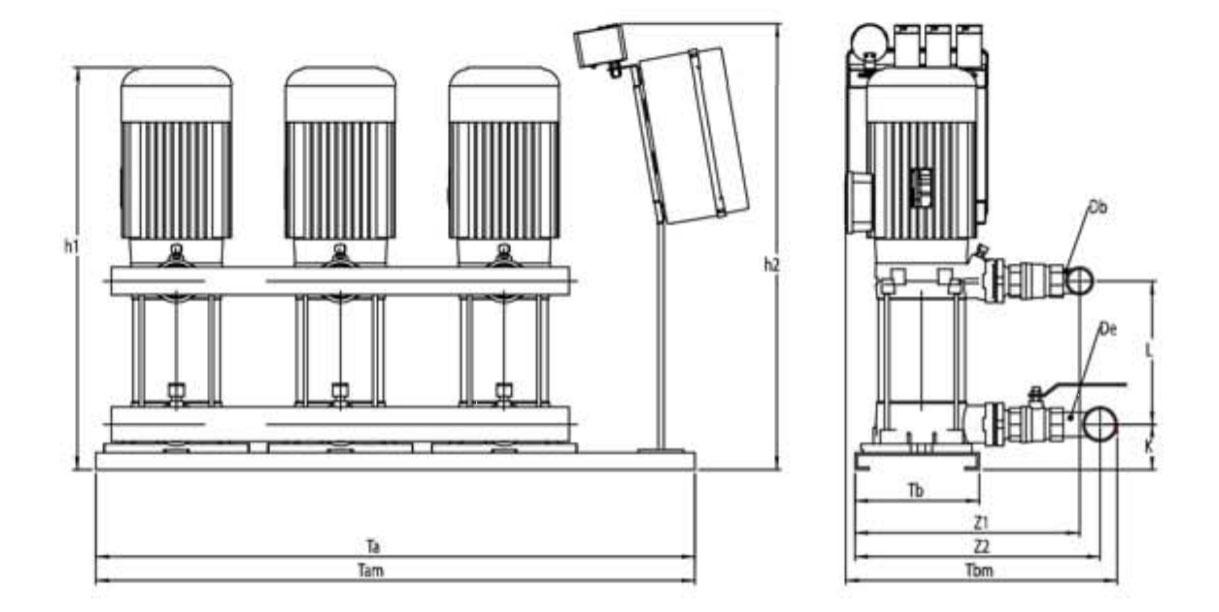 Kích thước kỹ thuật các dòng máy bơm bù áp Sempa SPS 90 - 04 x 3