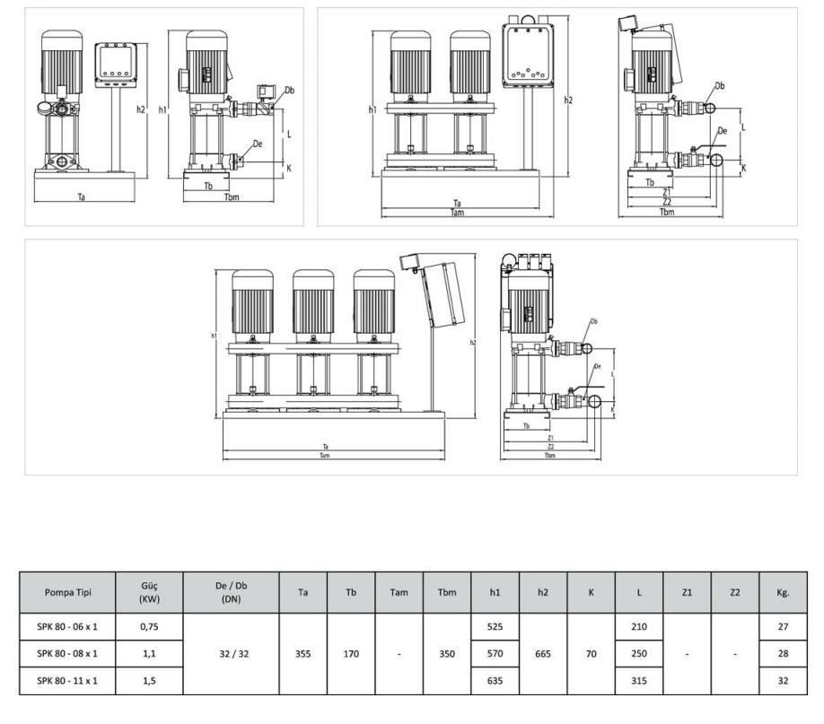 Kích thước kỹ thuật của máy bơm bù áp Sempa SPK80 - 06 x 1
