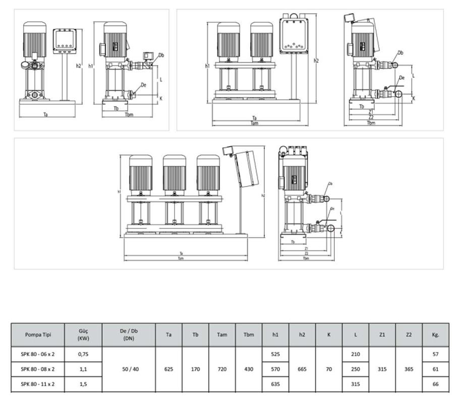 Kích thước kỹ thuật của máy bơm bù áp Sempa SPK80 – 06 x 2