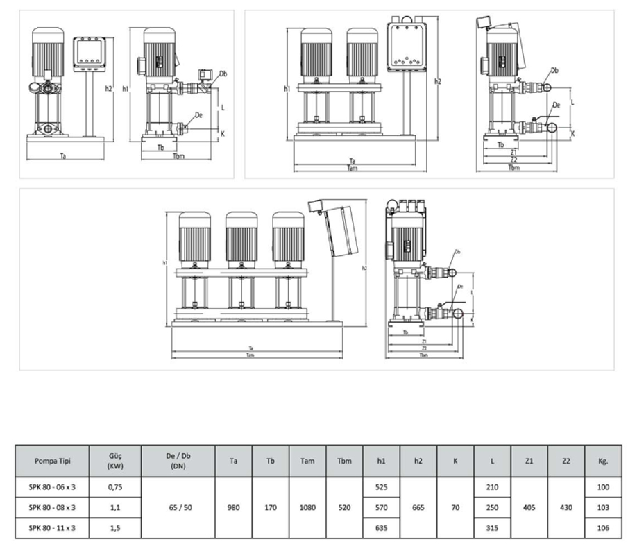 Kích thước kỹ thuật của máy bơm bù áp Sempa SPK80 – 06 x 3