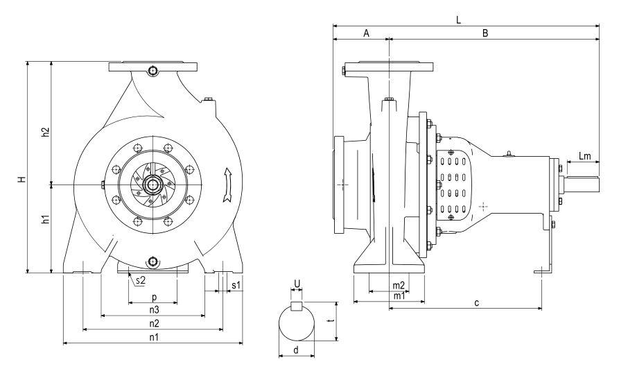 Bản vẽ máy bơm ly tâm trục ngang rời trục Sempa TKF 32-250