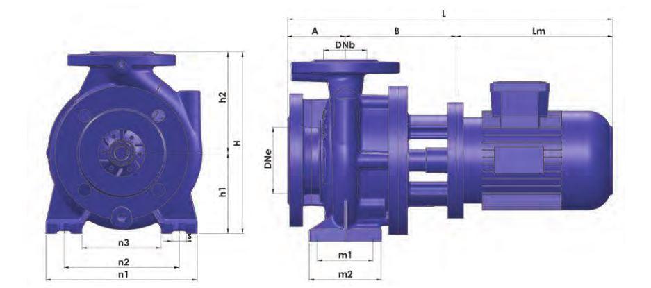 Kích thước máy bơm ly tâm trục ngang Sempa TKF-M 50-160