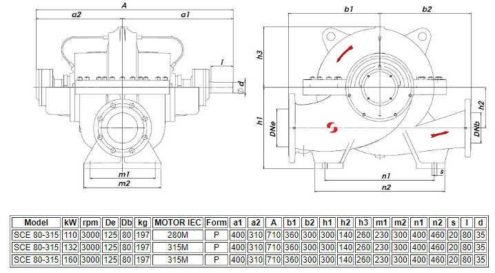 Thông số kỹ thuật của máy bơm ly tâm hút đôi Sempa SCE 80-315