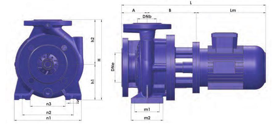 Thông số kỹ thuật của máy bơm ly tâm trục ngang Sempa TKF-M 125-200