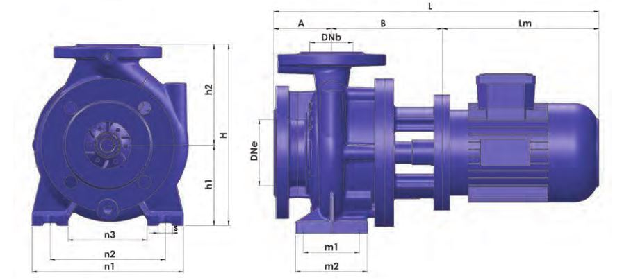 Thông số kỹ thuật của máy bơm trục ngang bán rời trục Sempa TKF-M 32-125