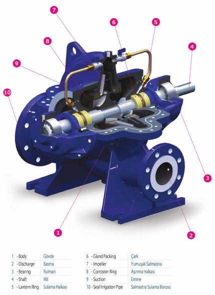 Cấu tạo của máy bơm ly tâm hút đôi Sempa  SCE 150-315