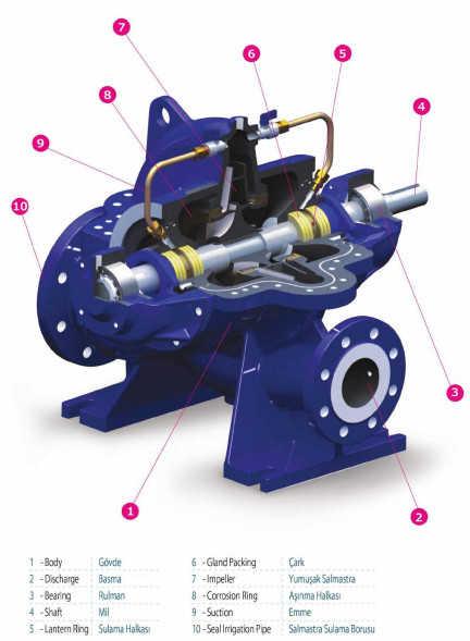 Cấu tạo của máy bơm ly tâm hút đôi Sempa SCE 125-315 (1500rpm)