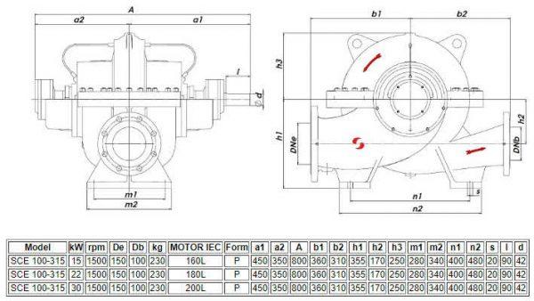 Thông số kỹ thuật máy bơm ly tâm hút đôi Sempa SCE 100-315