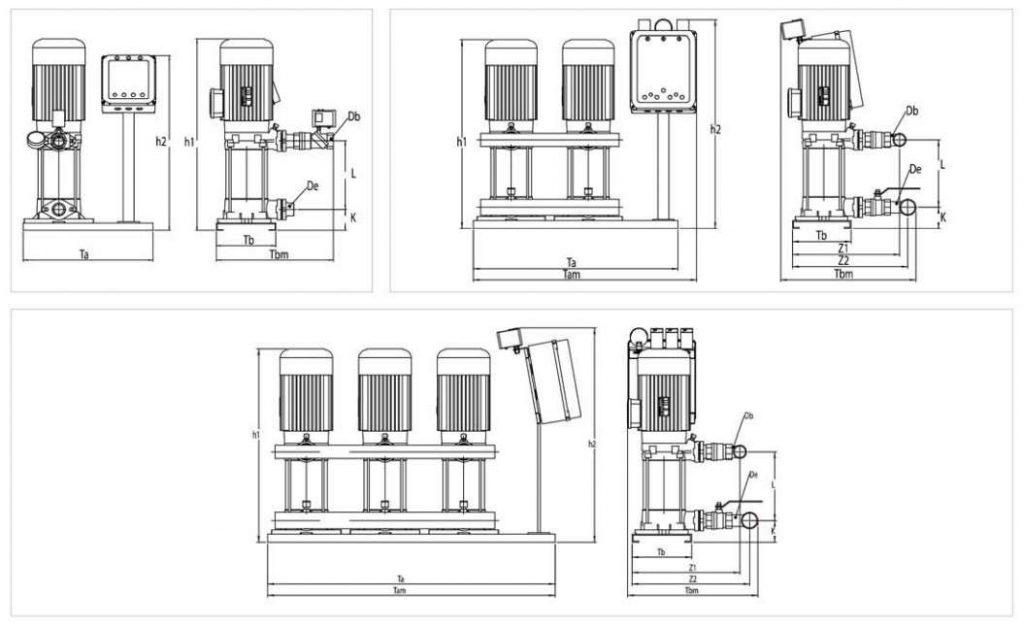 Bản vẽ của máy bơm ly tâm trục đứng Sempa SPL 100 - 05 x 2