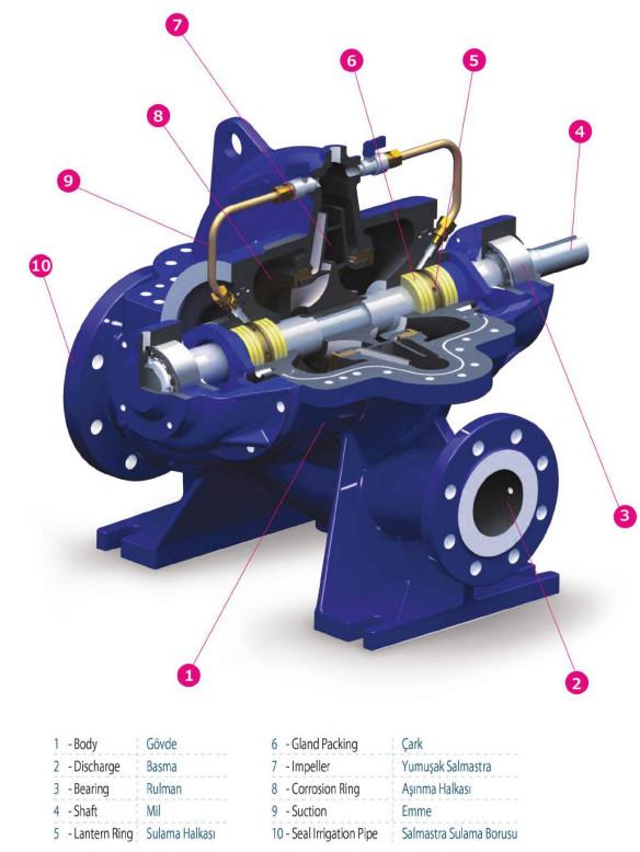 Cấu tạo của máy bơm ly tâm hút đôi Sempa SCE 80-315 (1500rpm)