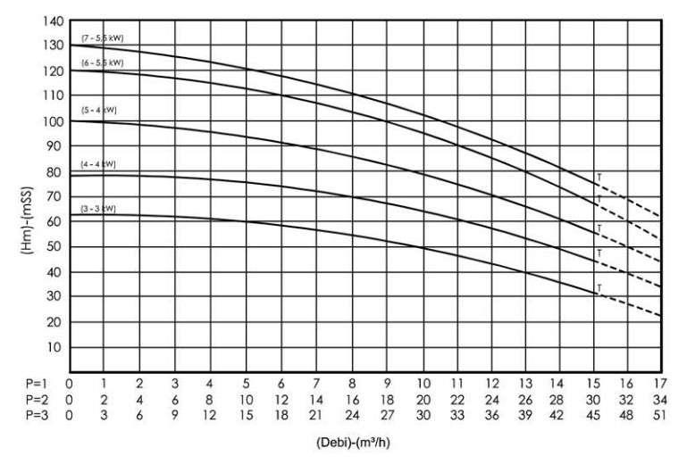 Biểu đồ lưu lượng của máy bơm ly tâm trục đứng Sempa SPL 100 - 07 x 3