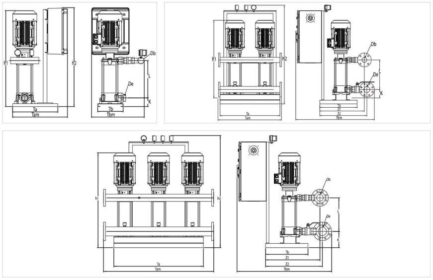 Thiết kế của máy bơm nước bù áp Sempa SPL - D 50 - 04 x 2